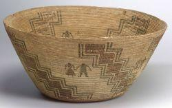Large California Pictorial Basketry Bowl