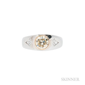 14kt White Gold and Colored Diamond Ring