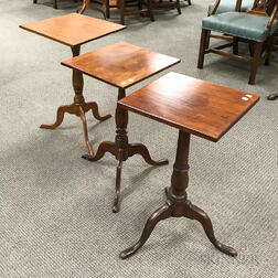 Three Country Maple and Cherry Candlestands