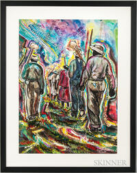 Floyd Gordon (American 20th/21st Century)   Watercolor Depicting Men with Shovels