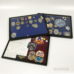 Three Groups of Framed Police Badges.     Estimate $50-100