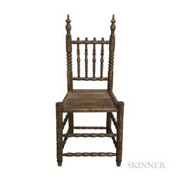 17th Century-style Turned Oak Side Chair