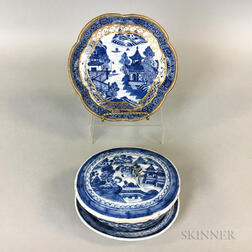 Canton Porcelain Covered Dish and Undertray and a Nanking Gilt Porcelain Scalloped Dish