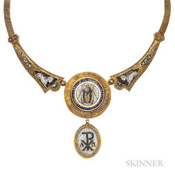 Archeological Revival Gold and Micromosaic Necklace