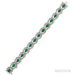 Platinum, Emerald, and Diamond Bracelet