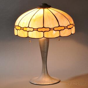 Slag Glass Table Lamp Attributed to J.A. Whaley