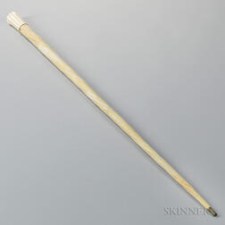 Carved Narwhal Tusk and Whale Ivory Cane