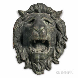 Repousse Sheet Copper Lion's Head Architectural Element from Union Railroad Station, Worcester, Massachusetts