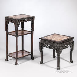 Marble-top Hardwood Stand and Stool