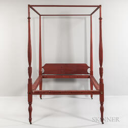 Red-painted Turned and Carved Maple Bed