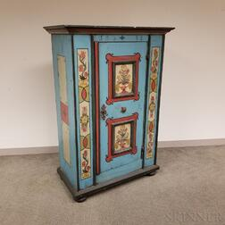 Scandinavian-style Polychrome Paint-decorated Pine Cupboard