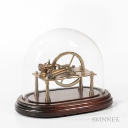 Miniature Lacquered Brass Stationary Engine