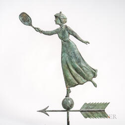 Molded Copper Tennis Player Weathervane