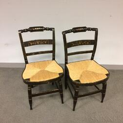 Pair of Paint-decorated and Stenciled Fancy Chairs