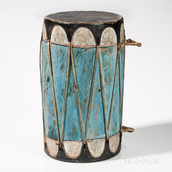 Large Taos Polychrome Wood and Hide Drum