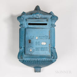 Cast Iron and Blue-painted Mailbox