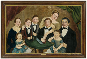 American School, 19th Century      Portrait of a Family of Eight
