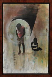 Tavari Hill (American, 20th Century)   Oil on Canvas Depicting Two Children