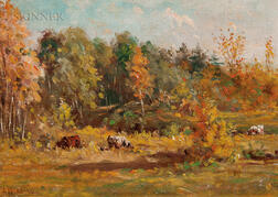 Edward Burrill (American, 1835-1913)      Autumn Landscape with Cows