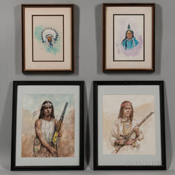 Four Paintings Depicting Native Americans