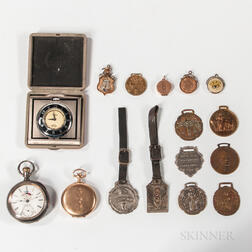 Three Odd Fellows Watches/Clocks and Thirteen Fobs