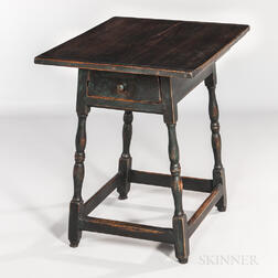 Pine and Maple Splay-leg Tap Table with Drawer