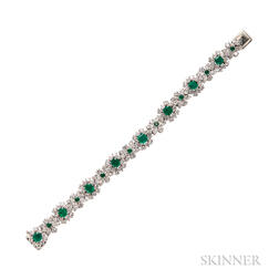 Platinum, Emerald, and Diamond Bracelet, Oscar Heyman