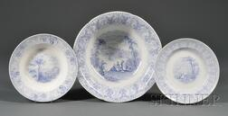 Three Historical Light Blue Transfer-decorated Staffordshire Pottery Items