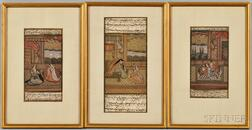 Three Miniature Painting and Calligraphy Folios
