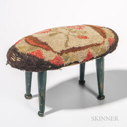 Green-painted and Floral-upholstered Footstool