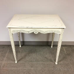 White-painted and Carved Side Table