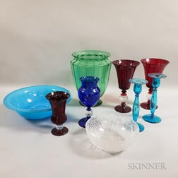 Eight Colored Glass Tableware Items