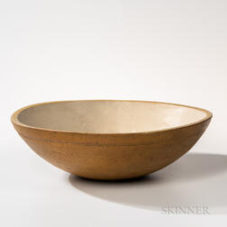 Large Shaker Yellow-painted Turned Bowl