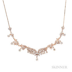 14kt Rose Gold and Diamond Necklace