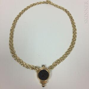 14kt Gold and Roman Medallion Necklace