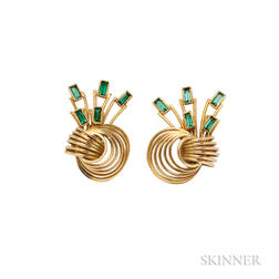 18kt Gold and Green Tourmaline Earclips