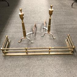 Pair of Brass Andirons and Fire Fender
