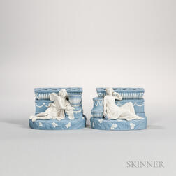 Pair of Wedgwood Solid Blue Jasper Figural Bough Pots