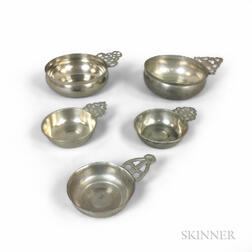 Five English and American Pewter Porringers