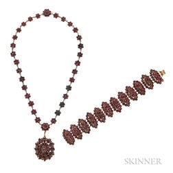Group of Garnet Jewelry Items