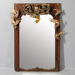 Louis XV-style Overmantel Mirror with Angel Ornaments