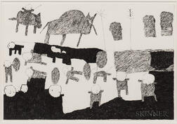 Donald Mitchell (California, b. 1951)      Untitled (Animals and Figures)