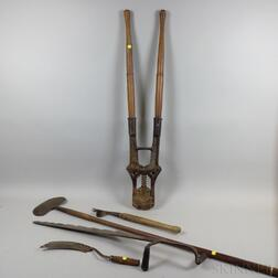Five Wood and Iron Garden Tools.     Estimate $20-200