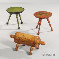 Two Similar Turned and Painted Stools and a Rolling Pin Footrest
