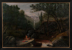 Large Naïve Oil on Canvas Landscape Depicting Indians
