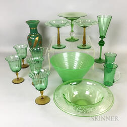 Fourteen Pieces of Green Glass Tableware