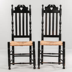 Pair of Black-painted Heart and Crown Bannister-back Chairs