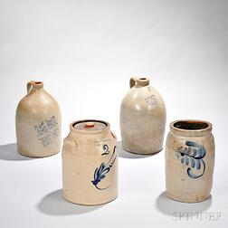 Two Stoneware Jars and Two Stoneware Jugs