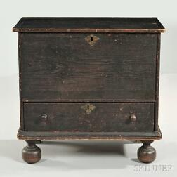 Spanish Brown-painted Pine Small Chest over Drawer