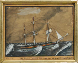 Captain N.S. Osgood (Newburyport, Massachusetts, 1825)      Ship Patomac scudding uder a close reefd Fore Topsail